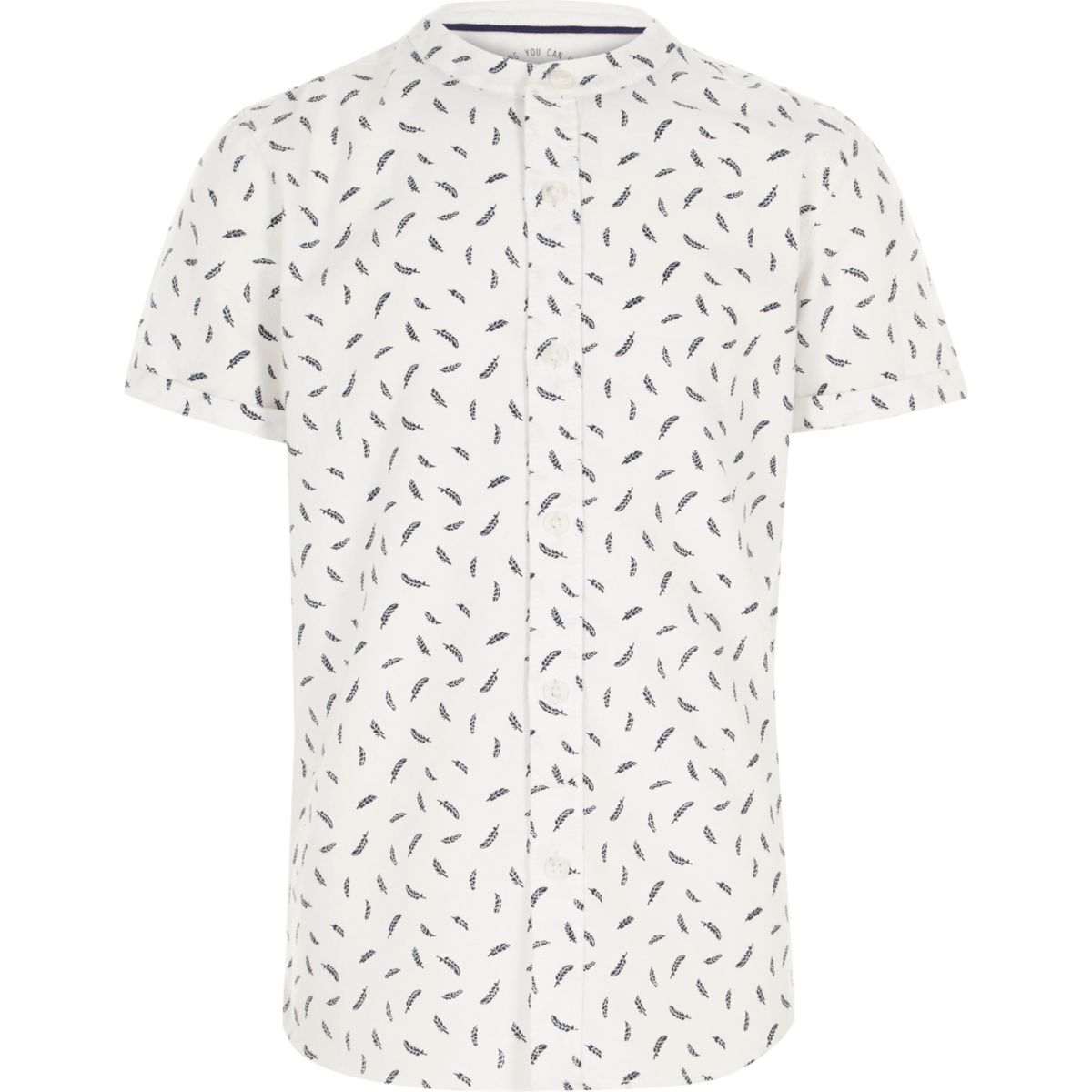 Boys white feather short sleeve grandad shirt