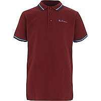 Boys burgundy Ben Sherman tipped polo shirt