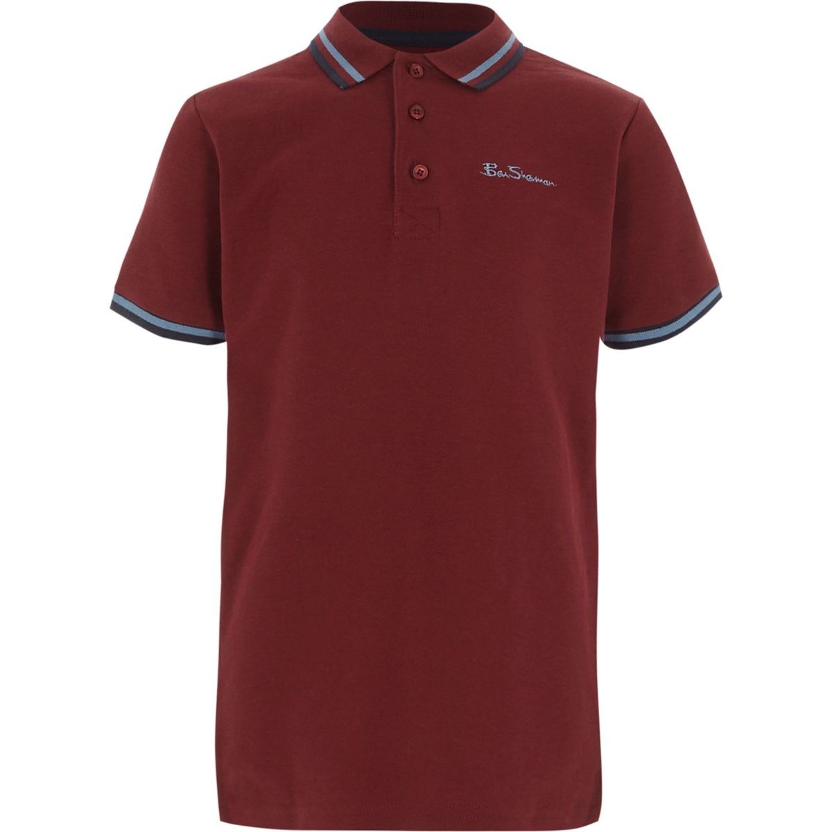 Boys burgundy Ben Sherman tipped polo shirt