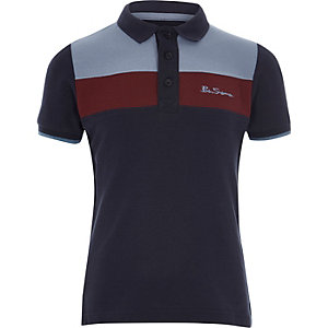 Boys navy Ben Sherman blocked polo shirt