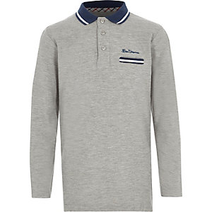 Boys grey Ben Sherman long sleeve polo shirt