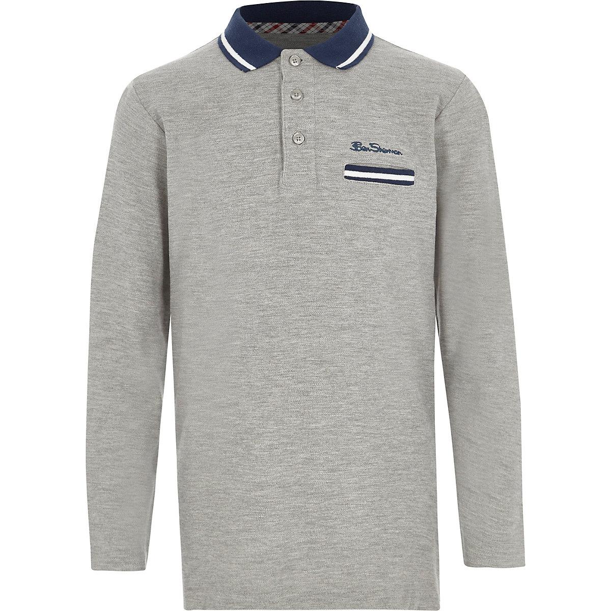 Boys grey Ben Sherman long sleeve polo shirt