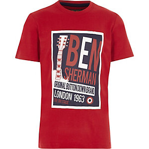 Ben Sherman – Rotes T-Shirt mit Retromusik-Print