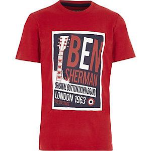 Ben Sherman - Rood T-shirt met retro muziekprint voor jongens