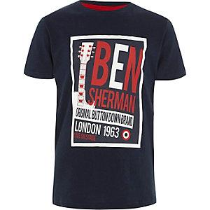 Ben Sherman - Marineblauw T-shirt met retro muziekprint voor jongens