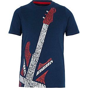Ben Sherman – Marineblaues T-Shirt mit Gitarren-Print