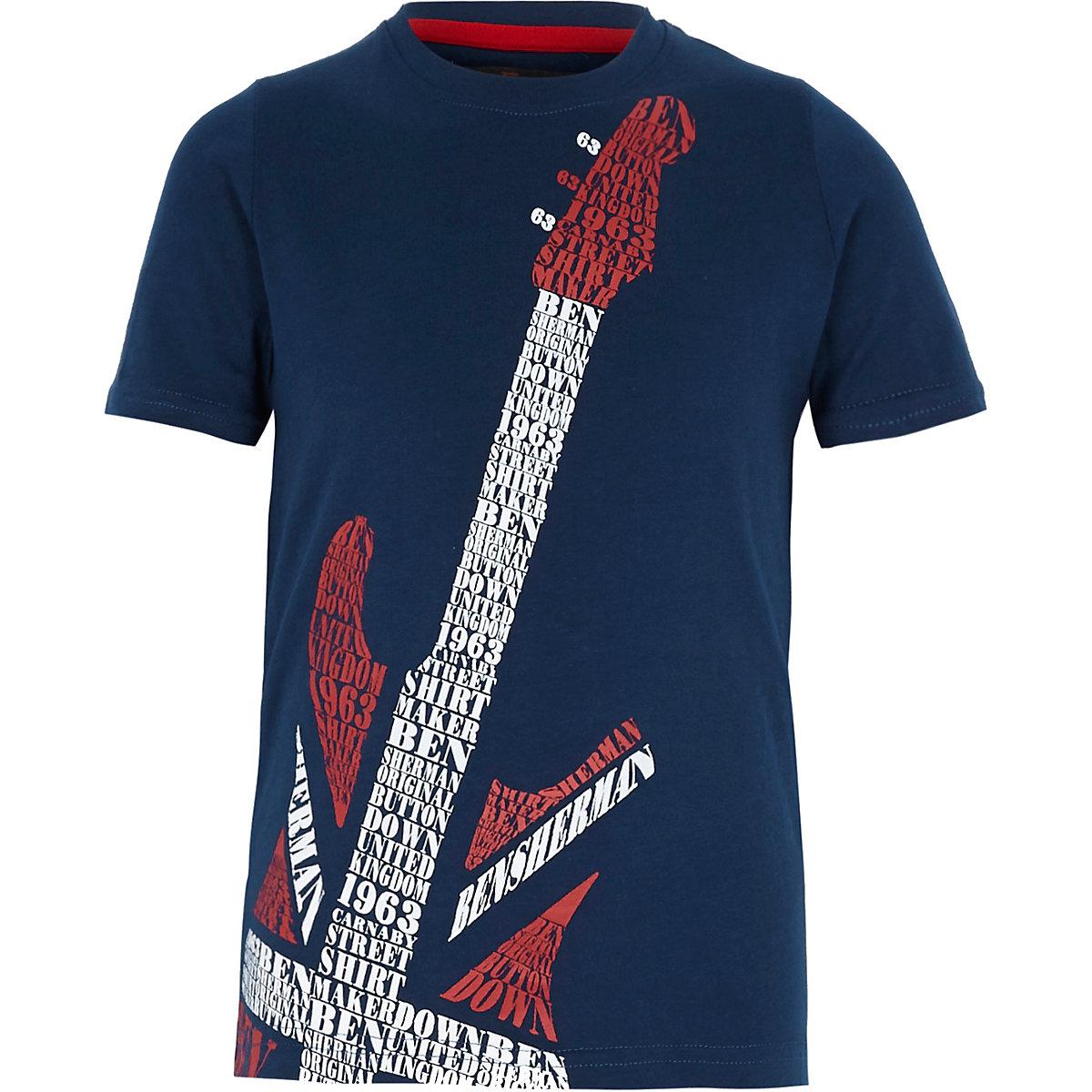 Sherman Guitar Ben Print Boys Navy T Shirt 43RjAL5q
