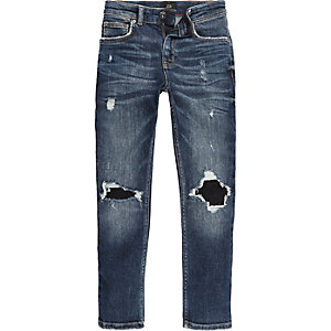 Boys blue ripped knee Sid skinny jeans