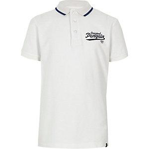 Boys white Original Penguin polo shirt