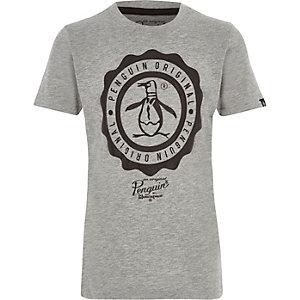 Original Penguin – T-shirt imprimé gris chiné pour garçon