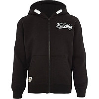 Boys black Original Penguin zip up hoodie