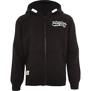 Boys black Original Penguin zip up hoodie