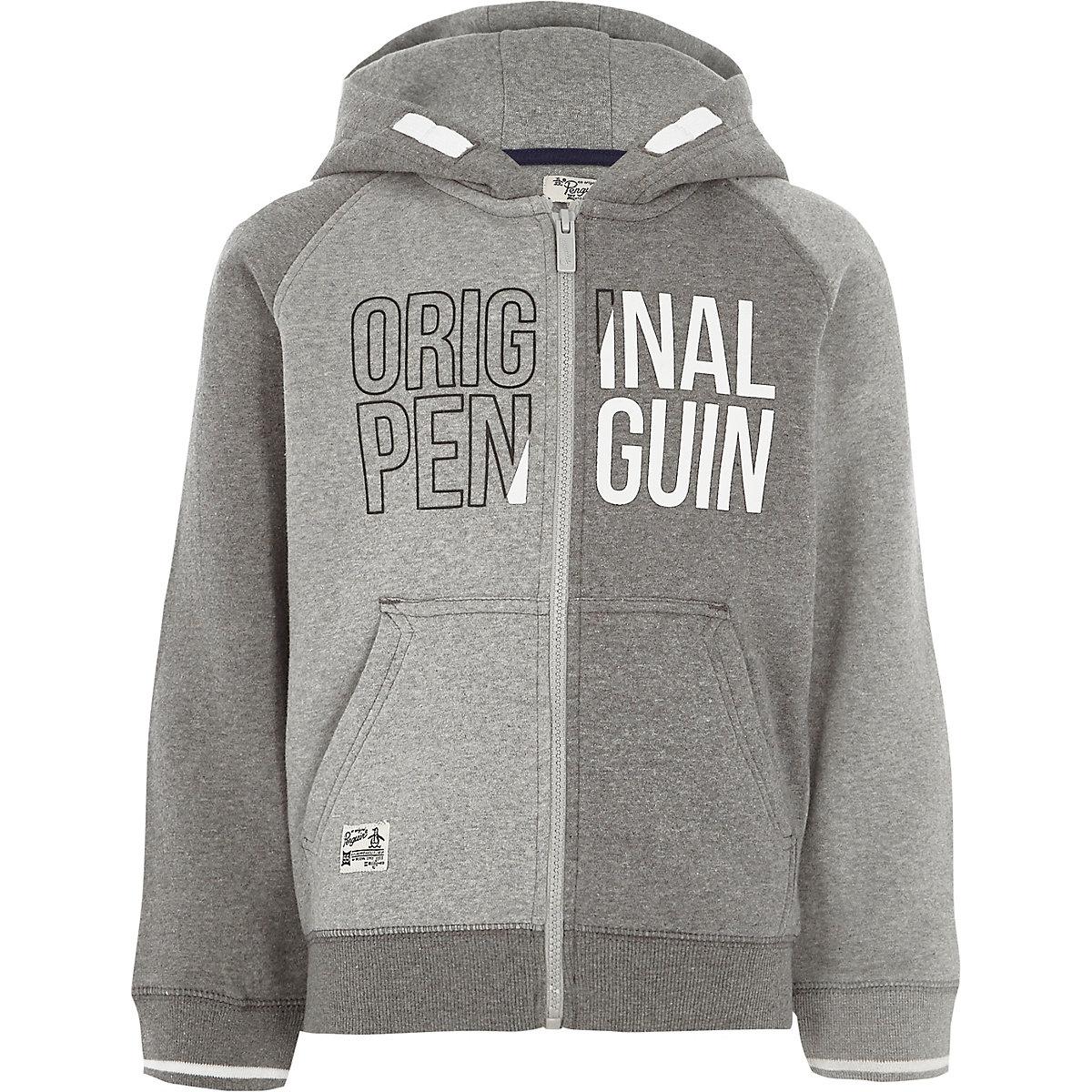Boys grey Original Penguin block hoodie