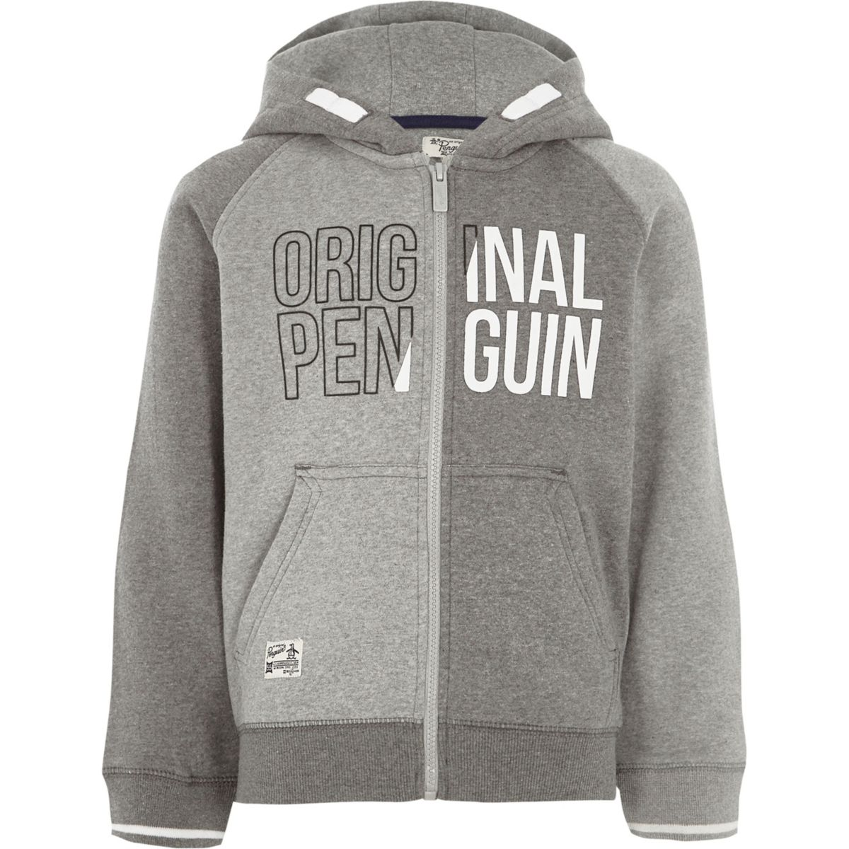 Boys grey Original Penguin block hoodie
