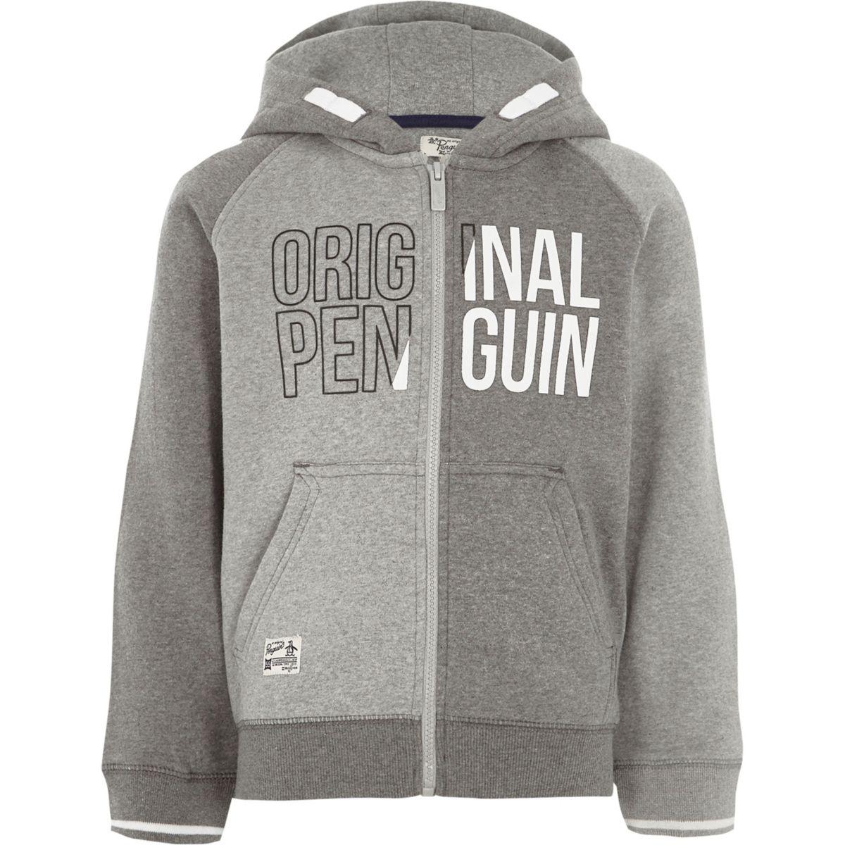Original Penguin – Sweat colour block gris à capuche pour garçon