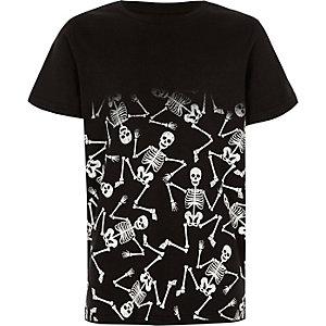 T-shirt noir imprimé squelette délavé pour garçon