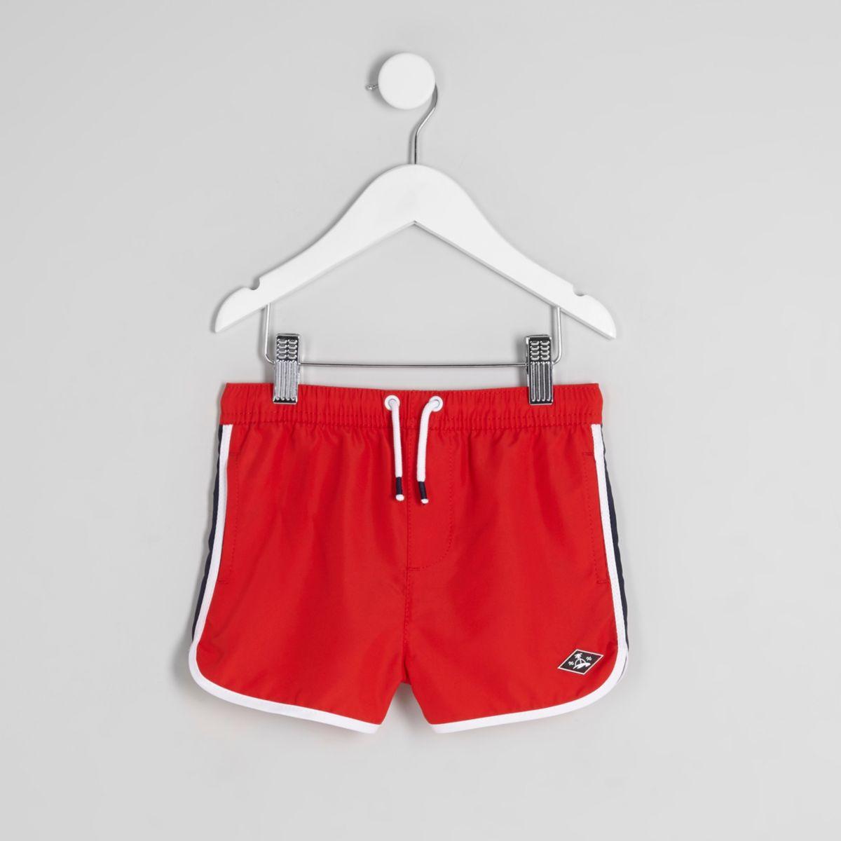 Mini boys red runner swim trunks