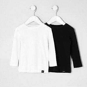 Lot de t-shirts noirs et blancs mini garçon