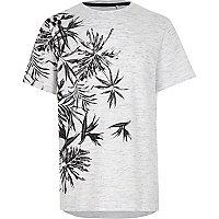 Boys blue floral textured jersey T-shirt