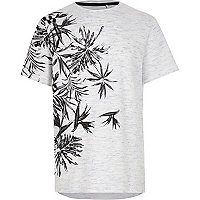 T-shirt en jersey texturé à fleurs bleu pour garçon