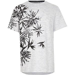 Blaues, strukturiertes Jersey-T-Shirt mit Blumen-Motiv