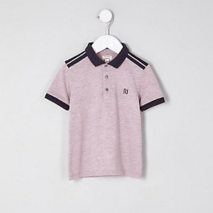 Mini boys pink marl polo shirt
