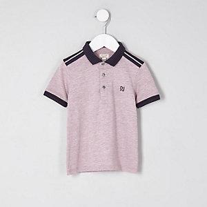 Mini - Roze gemêleerd poloshirt voor jongens