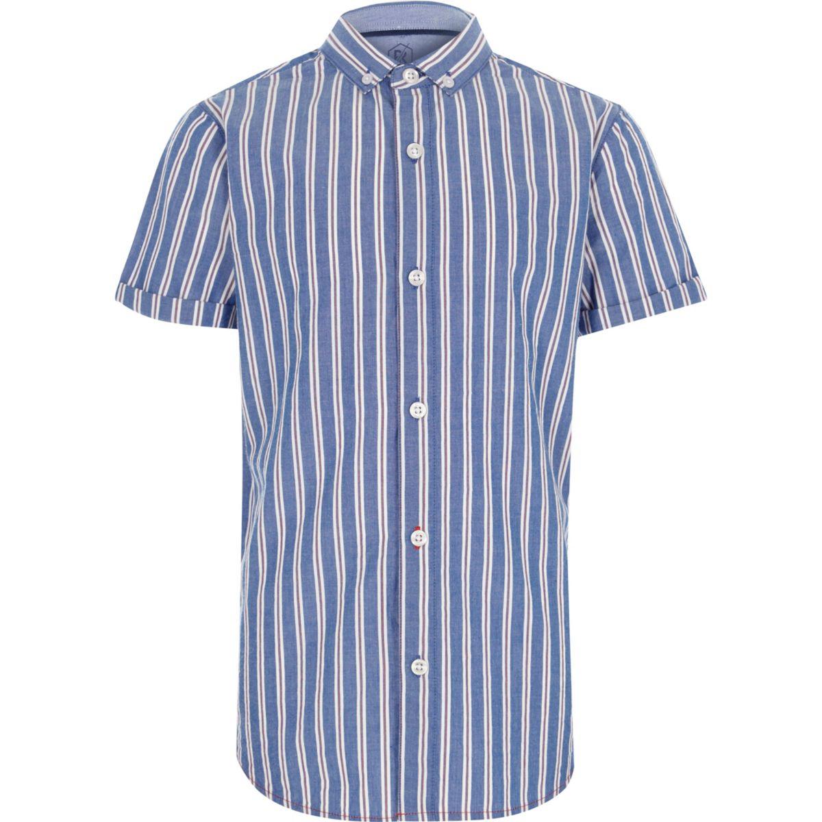 Chemise bleue à rayures et manches courtes pour garçon