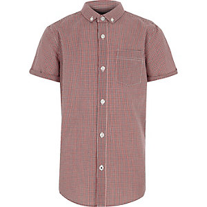 Boys red gingham check short sleeve shirt