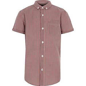 Rood overhemd met gingham-ruit en korte mouwen voor jongens