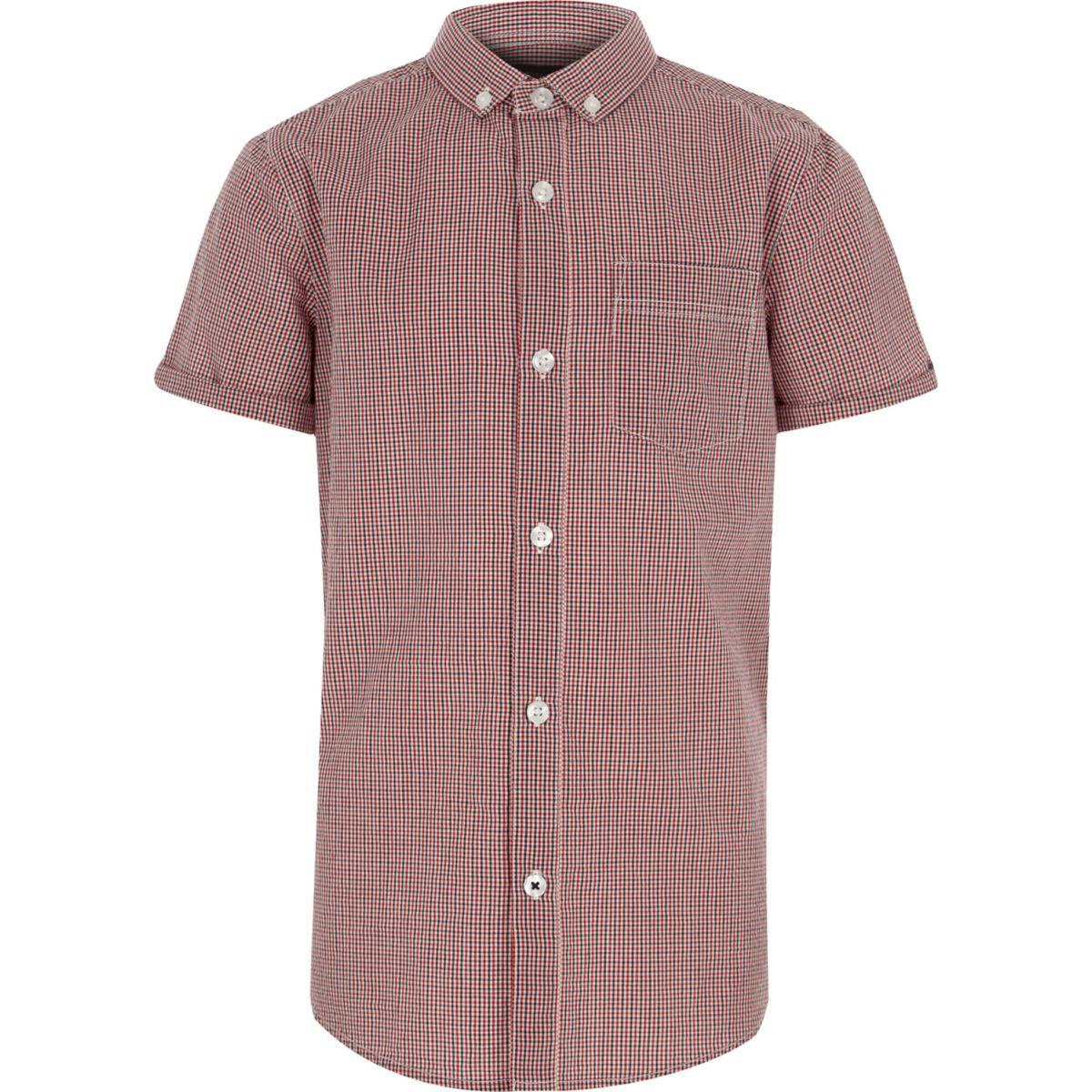 Chemise manches courtes à carreaux vichy rouge pour garçon