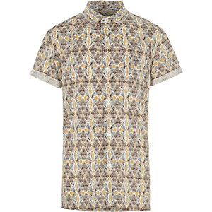 Boys cream aztec print short sleeve shirt