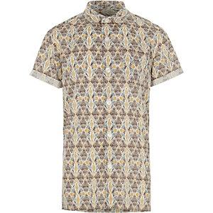 Crème overhemd met korte mouwen en aztekenprint voor jongens