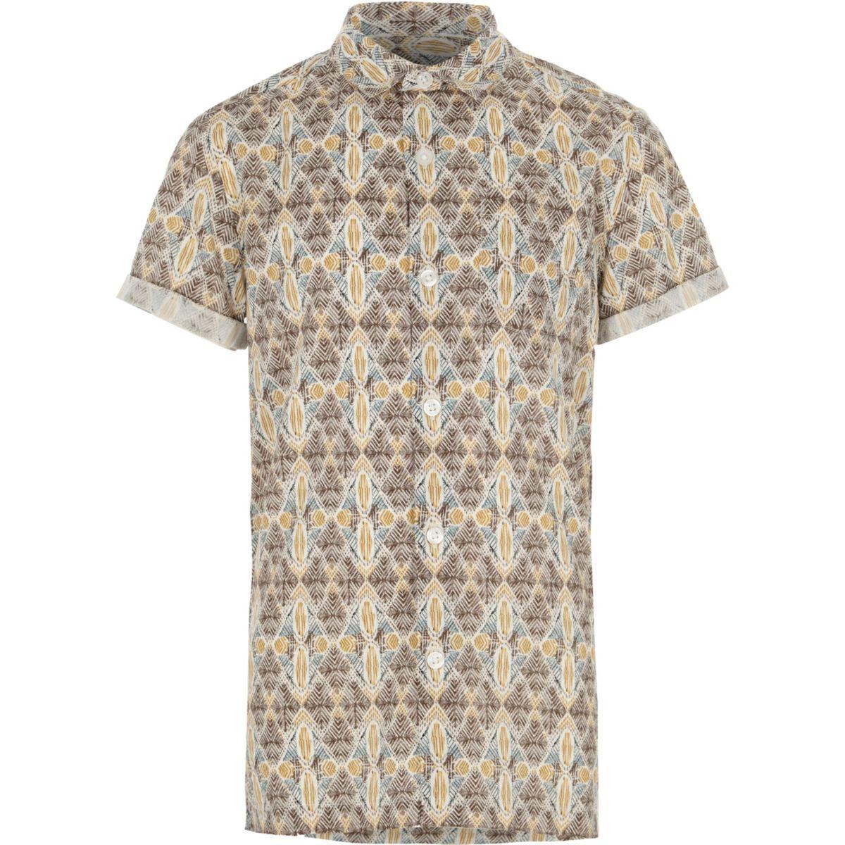 Boys cream aztec print short sleeve shirt