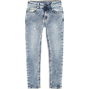 Sid - Blauwe acid wash skinny jeans voor jongens