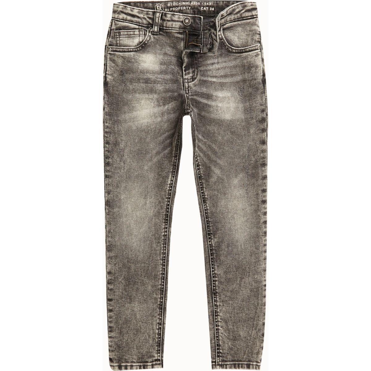 Boys black acid wash Sid skinny jeans
