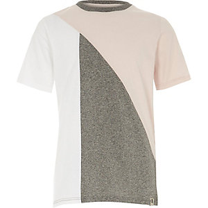 Boys pink and grey block T-shirt