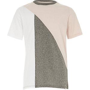 Roze met grijs T-shirt met kleurvlakken voor jongens