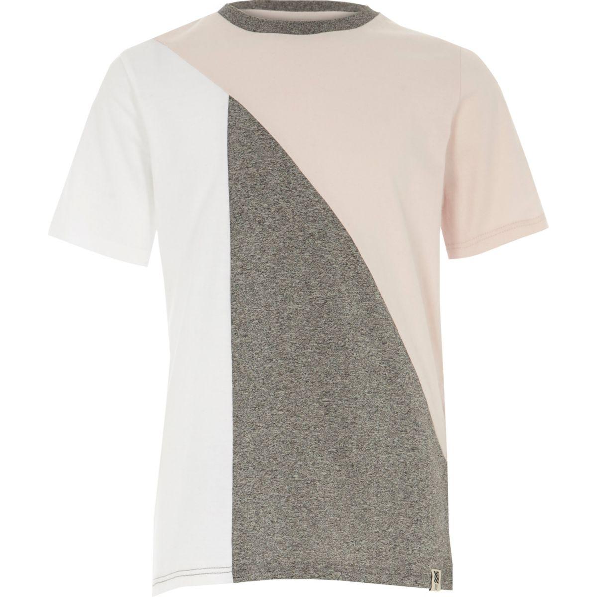 Boys pink and grey block T-shirt