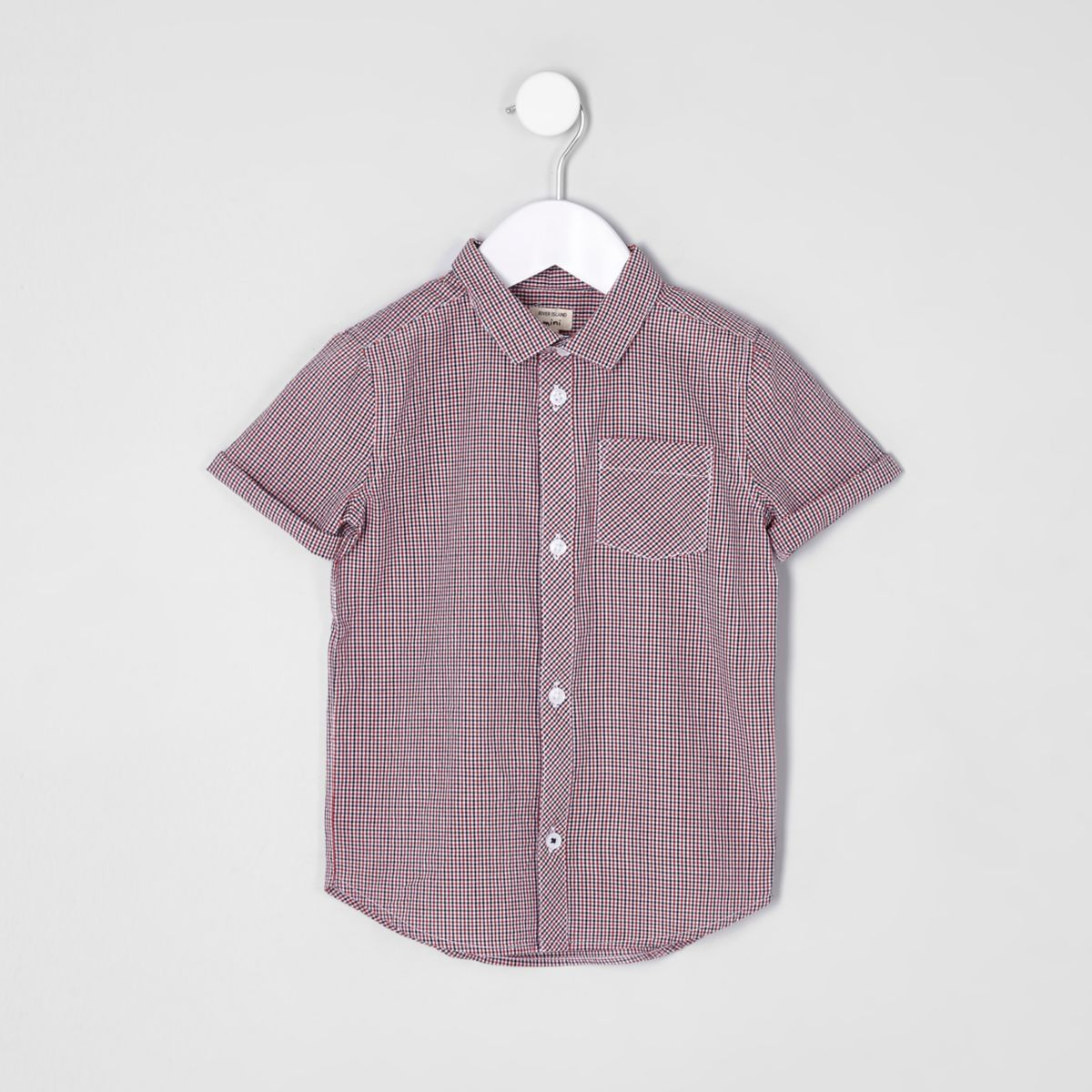Mini boys red check short sleeve shirt