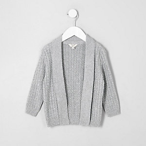Mini boys grey cable knit cardigan