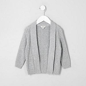 Mini boys grey cable knit cardigan