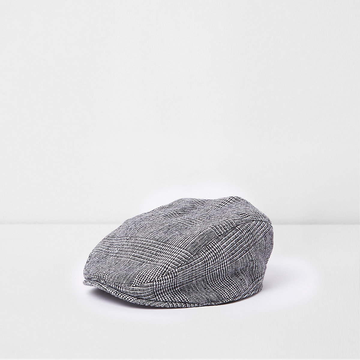 Mini boys grey check flat peak cap