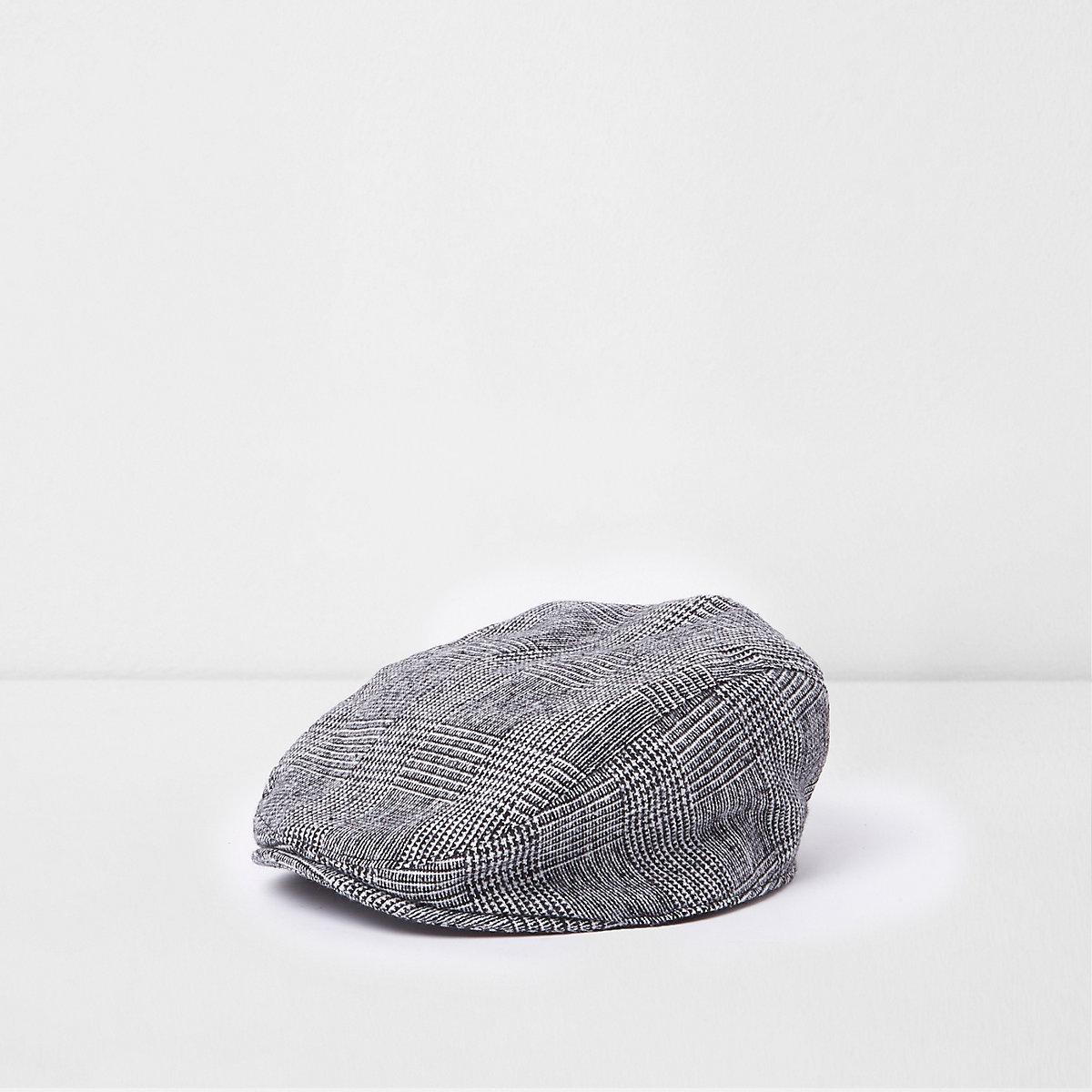Casquette à carreaux grise avec visière plate mini garçon