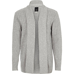 Boys grey cable knit open front cardigan