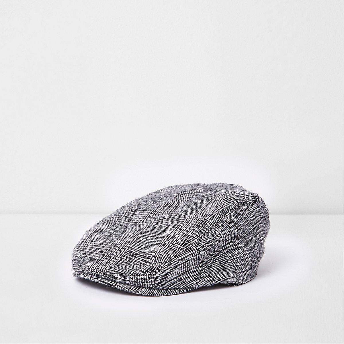 Boys grey check flat peak cap