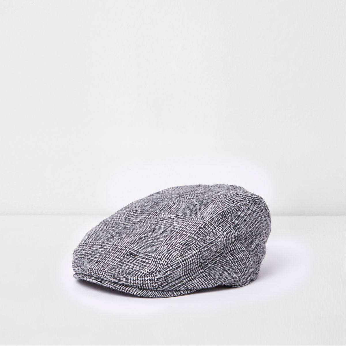 Boys grey check flat peak cap