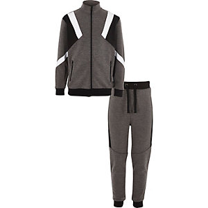 Boys grey marl blocked tracksuit