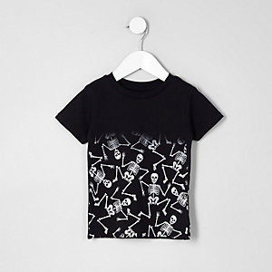 Mini boys black skeleton fade print T-shirt