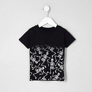 Mini - Zwart T-shirt met vervagende skeletprint voor jongens